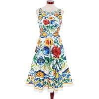 Alta calidad más nueva 2017 runway designer dress de las mujeres sin mangas retro floral impreso algodón jacquard backless dress mitad de la pantorrilla