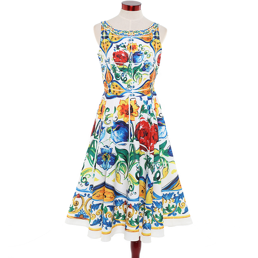 HIGH QUALITY Newest 2018 Designer Runway Dress Women's Sleeveless Retro Floral Printed Cotton Jacquard Backless Mid-calf Dress