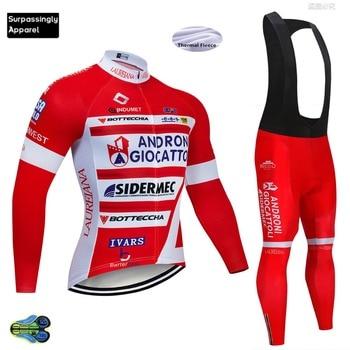 2019 Pro ANDRO equipo Ciclismo Jersey conjunto Invierno térmico polar manga larga...