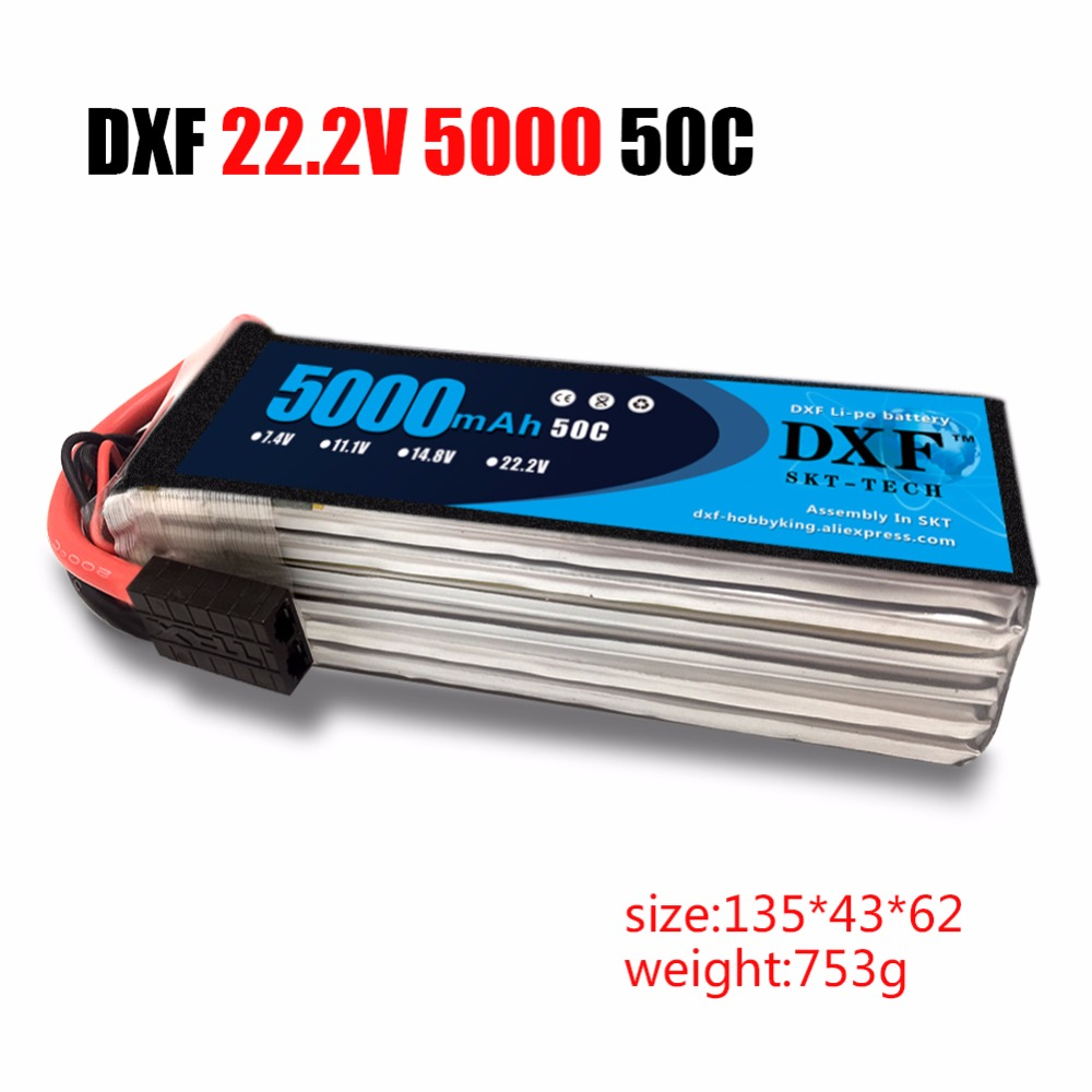 DXF RC <font><b>Lipo</b></font> <font><b>6S</b></font> Battery 22.2V <font><b>5000mAh</b></font> 6000mAh 50C Max 100C AKKU For Remote Control Car Quadcopter Helicopter Multicopter Drone image