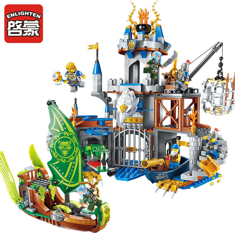 Enlighten 656pcs War of Glory Castle Knights The Sliver Hawk Castle 6 Figures Building Blocks Educational