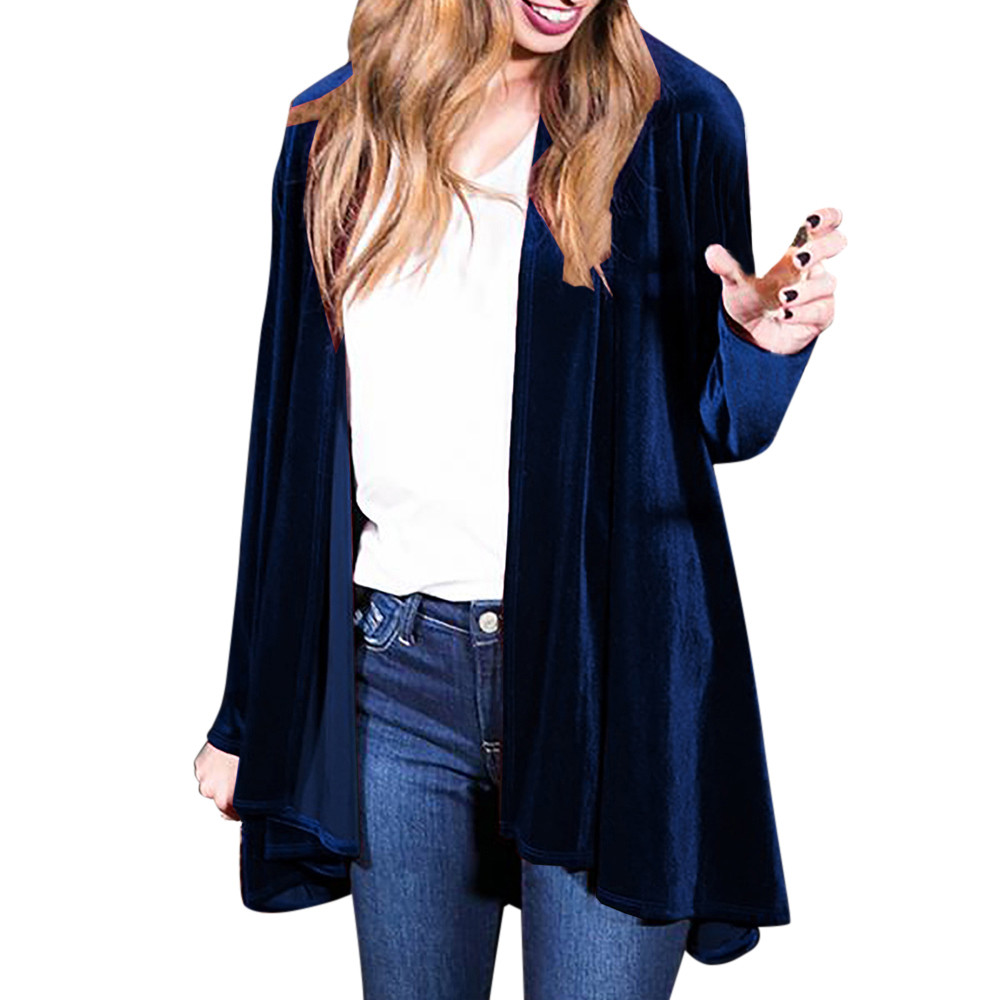 Women Solid Regular Frill Slim Fit Long Sleeve Peplum Velvet Coat Cardigan Autumn 2018 Parkas   basic     jackets   Female Women Outwear