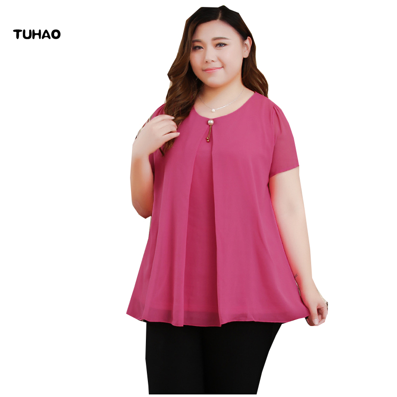 TUHAO 10XL 9XL 8XL Plus Size Blouses for Women Loose Beaded Chiffon Top Office Lady Summer Solid Color Blouse Shirt Top YZ08