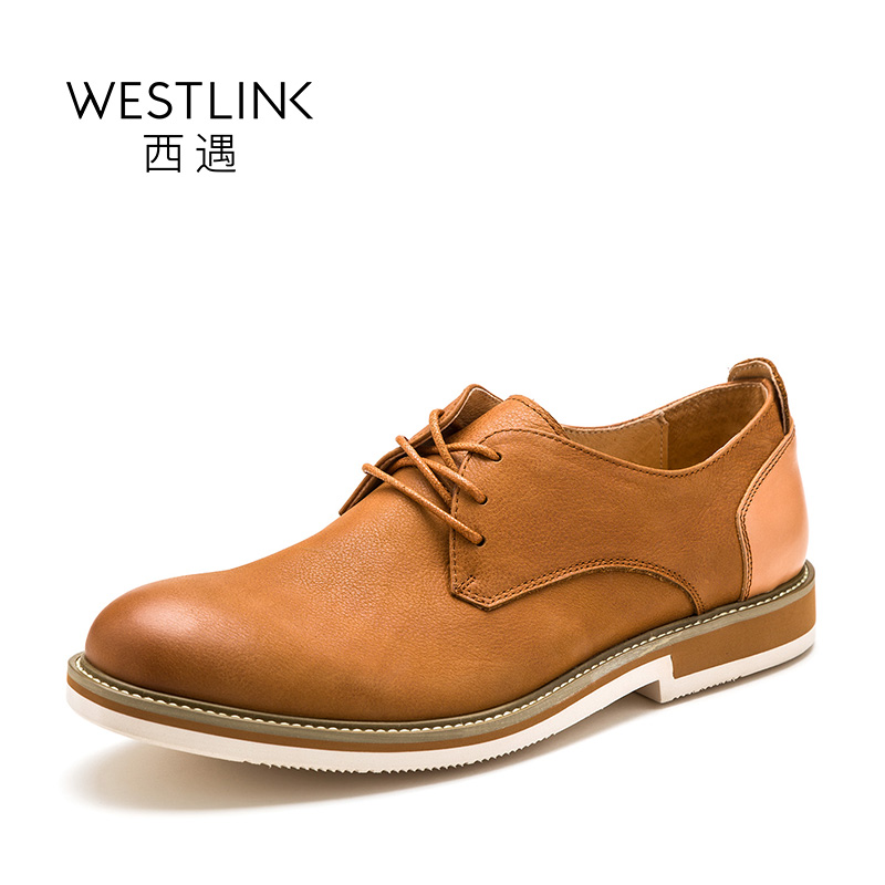 ФОТО Westlink 2017 Spring New Top Layer Cow Leather Round Toe Lace-up Flat Deep Men Casual Shoes Black Brown