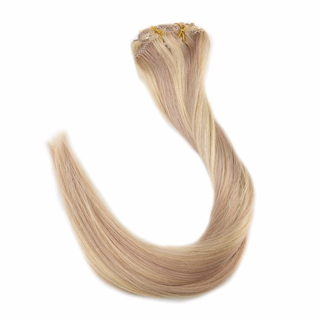 Full Shine Human Hair Clip In Blonde Extensions 100 Real Remy Hair