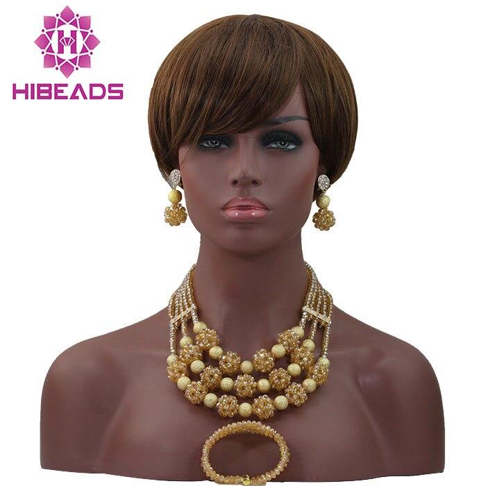 Fabuleux Champagne or collier ensembles femmes Dubai mariage bijoux africains ensembles livraison gratuite HX625