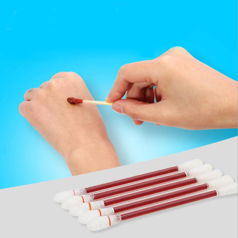 20PCS Double Use Disposable Medical Iodine Cotton Stick Iodine Disinfected Cotton Swab Climbing Aid First Aid Kit Supplies LBA