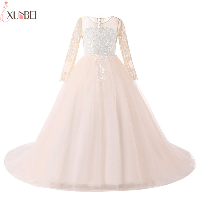 cb349b2b69e Lovely Flower Girl Dresses Court Train Long Sleeves 2019 Lace Appliques  Pageant Dresses For Girls Lace Communion Princess Dress