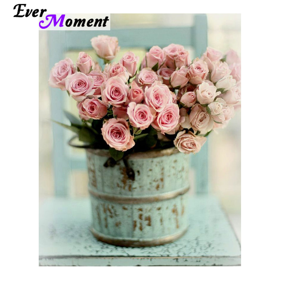 Ever Moment 5D Diamont Painting Pink Rose Shabby Chic Beautiful Diamond Embroidery Crystal Diamond Painting Floral Craft ASF972