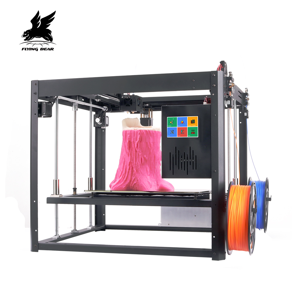 Nuevo Vresion Flyingbear Tornado grande 3d de bricolaje impresora de metal completo de carril lineal 3d Kit de impresora de doble extrusora