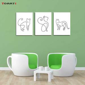 Image 1 - Минималистичные печатные плакаты с животными, забавная Картина на холсте с котом на стене для детей, питомник, спальня, домашний декор, Современные художественные картины