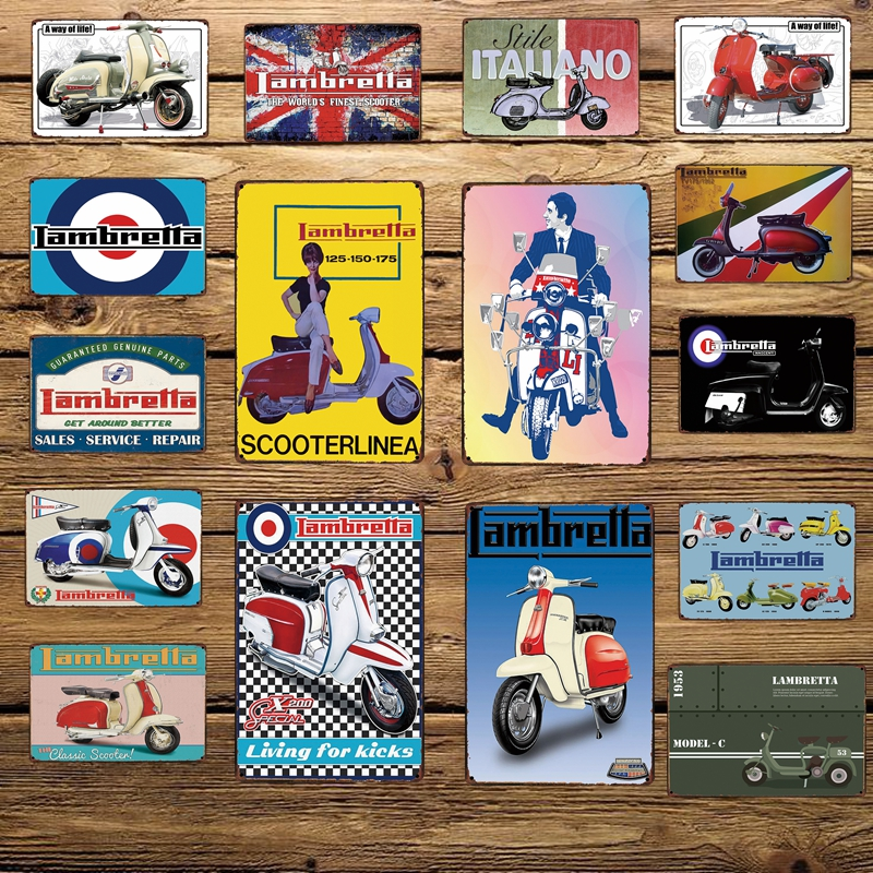 [WellCraft] Lambretta Motor Metal Signs Home Hotel Placa de pared - Decoración del hogar - foto 1