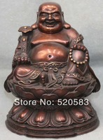Free Chinese Fengshui Bronze Happy Laugh Maitreya Buddha Statue Statuary Sculpture Fast