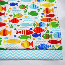 Printed Fish Baby Cotton Twill Quilting Fabric by half meter for DIY Sewing Bed Sheet Dress making cotton fabric