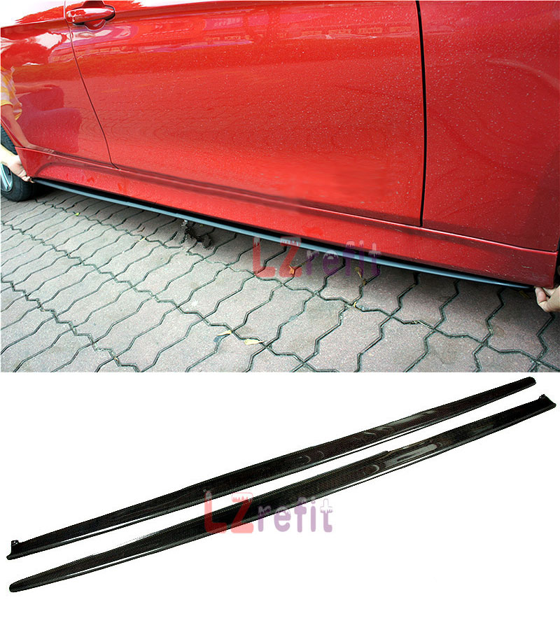 P Style Real Carbon Fiber Side Skirts Extensions For BMW F32 F33 4Series 420i 428i 435i M Sport 2014UP