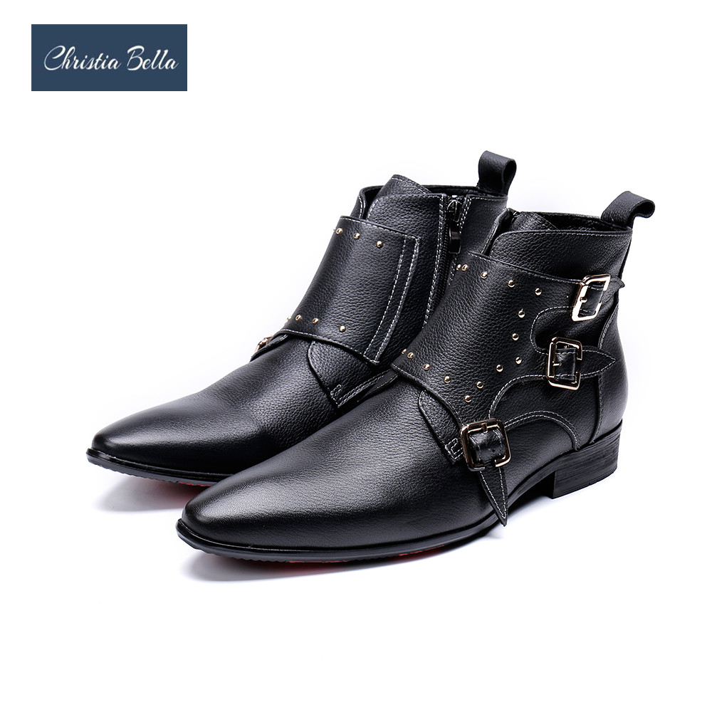 Christia Bella Winter Genuine Leather Men Boots Wedding Party Rivets Men Dress Boots Black Pointed Toe Motorcycle Boots Big SizeChristia Bella Winter Genuine Leather Men Boots Wedding Party Rivets Men Dress Boots Black Pointed Toe Motorcycle Boots Big Size