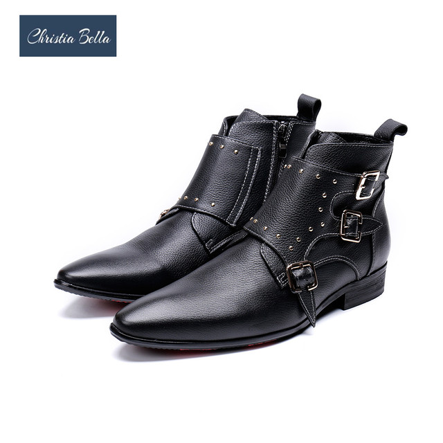 Christia Bella Winter Genuine Leather Men Boots Wedding Party Rivets Men Dress Boots Black Pointed Toe Motorcycle Boots Big Size