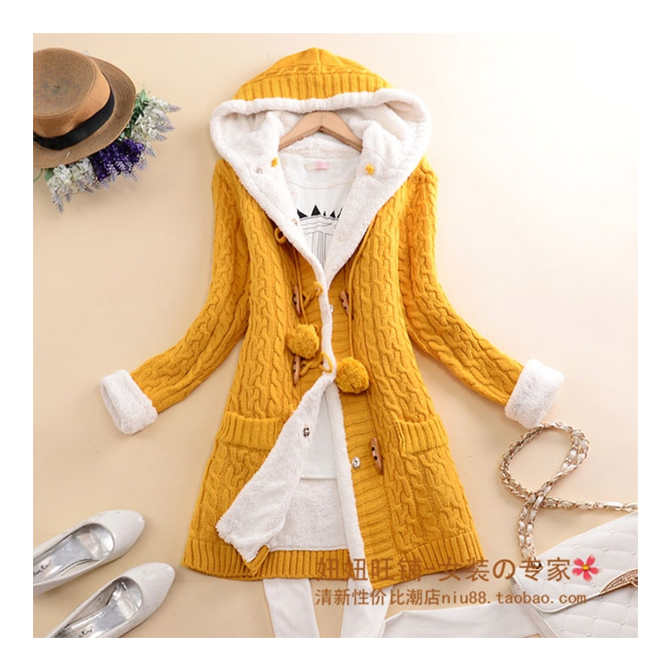 New arrival Girl Sweater Coat Winter 2019 Autumn Casual Solid Hooded - Women's Clothing - Photo 3