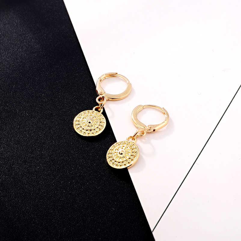 Dayoff אירופה עגול זהב כסף חישוק Earrrings נשי אפריקה בציר פאנק Earstud נשים תכשיטי קסמי קטן שמש אוזן טבעת E599