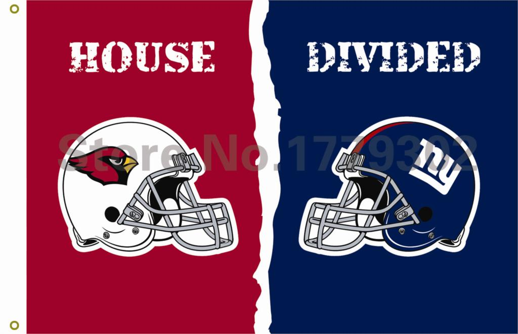 Arizona Cardinals New York Giants helmets House Divided Flag3ft x 5ft