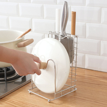 1pcs Stainless Steel Pot Lid Shelf And Knife Rack Stand Cover & Organizer Storage Kitchen