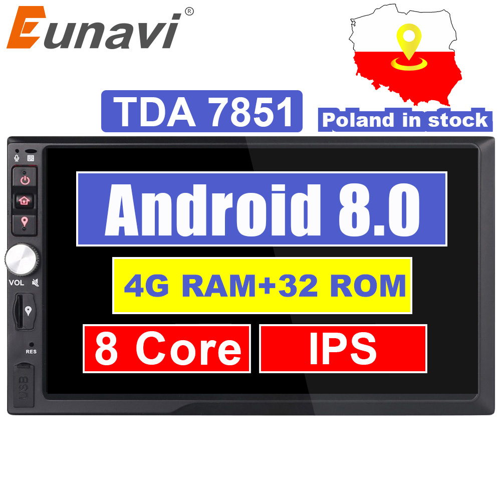 Eunavi 2 Din 7 ''4 GB RAM Octa núcleo Android 8.0 Universal Car Radio Stereo Navegação GPS Wi-fi 1024*600 Tela de Toque 2din Carro PC