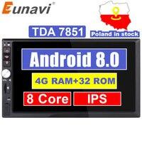 Eunavi 2 Din 7 ''Octa core Универсальный Android 8,0 4 Гб оперативная память автомобиля Радио Стерео gps навигации Wi Fi 1024*600 сенсорный экран 2din Автомобильные П