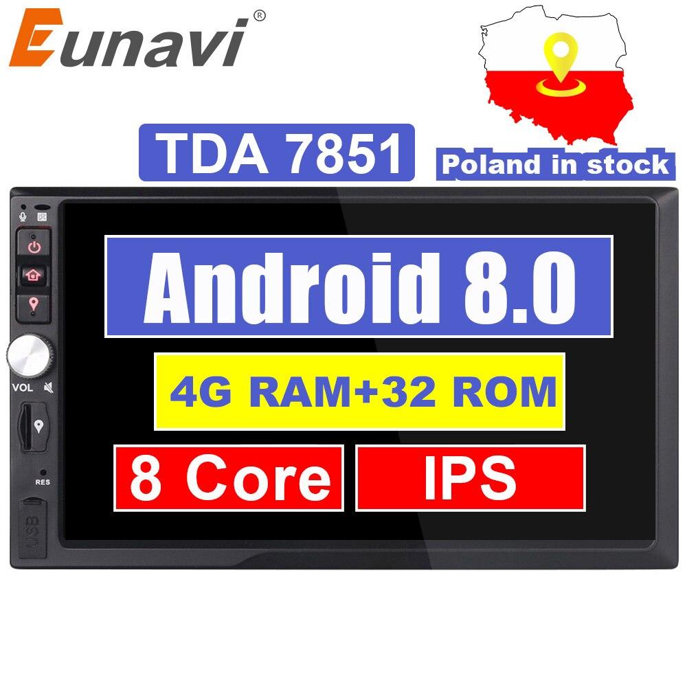 Eunavi 2 Din 7 ''Octa core Universel Android 8.0 4 GB RAM Voiture Radio Stéréo GPS Navigation WiFi 1024*600 Écran Tactile 2din PC De Voiture