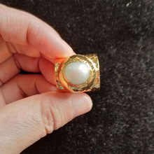 Gold Copper Rings with Nature Pearl High Quality Open for Women Men Jewery Ring Anillo Mujer Trendy