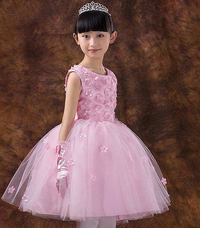 Elegant Girl Summer Dress Pink Lace Dimensional flowers Tulle Party ...