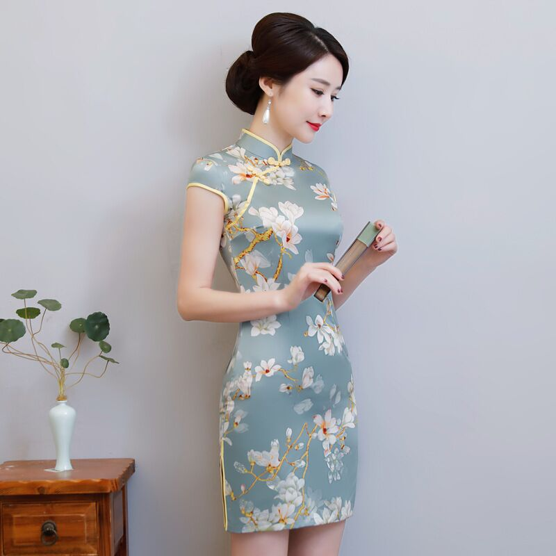 New Arrival Women's Satin Mini Cheongsam Fashion Chinese Style Dress Elegant Slim Qipao Clothing Size S M L XL XXL 368483 10