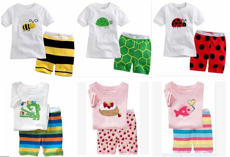 1bb39cb71 جديد الصيف الفقرة الأطفال الكرتون القطن الطفل بأكمام قصيرة رياضية منامة الأطفال  ملابس طفلة الحيوان