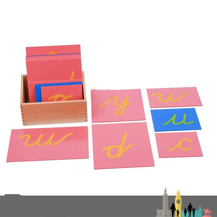 Montessori aides à l'apprentissage précoce série de langue minuscule herbe lettres anglaises jouets sensoriels