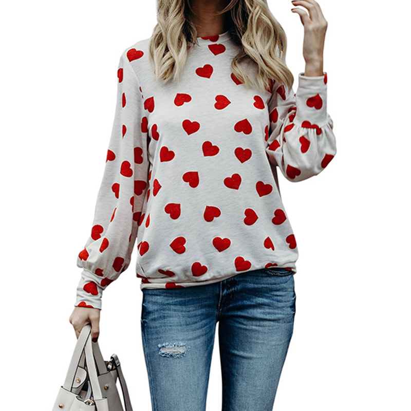 2018 Women Hoodies Valentine Gift Casual Basic Tops For Women Love Heart Printed Sweatshirt For Woemn Clothing WS5949R