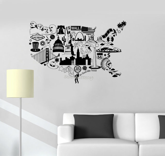 United States Map Wall Decal Educational Wall Decal Murals ...