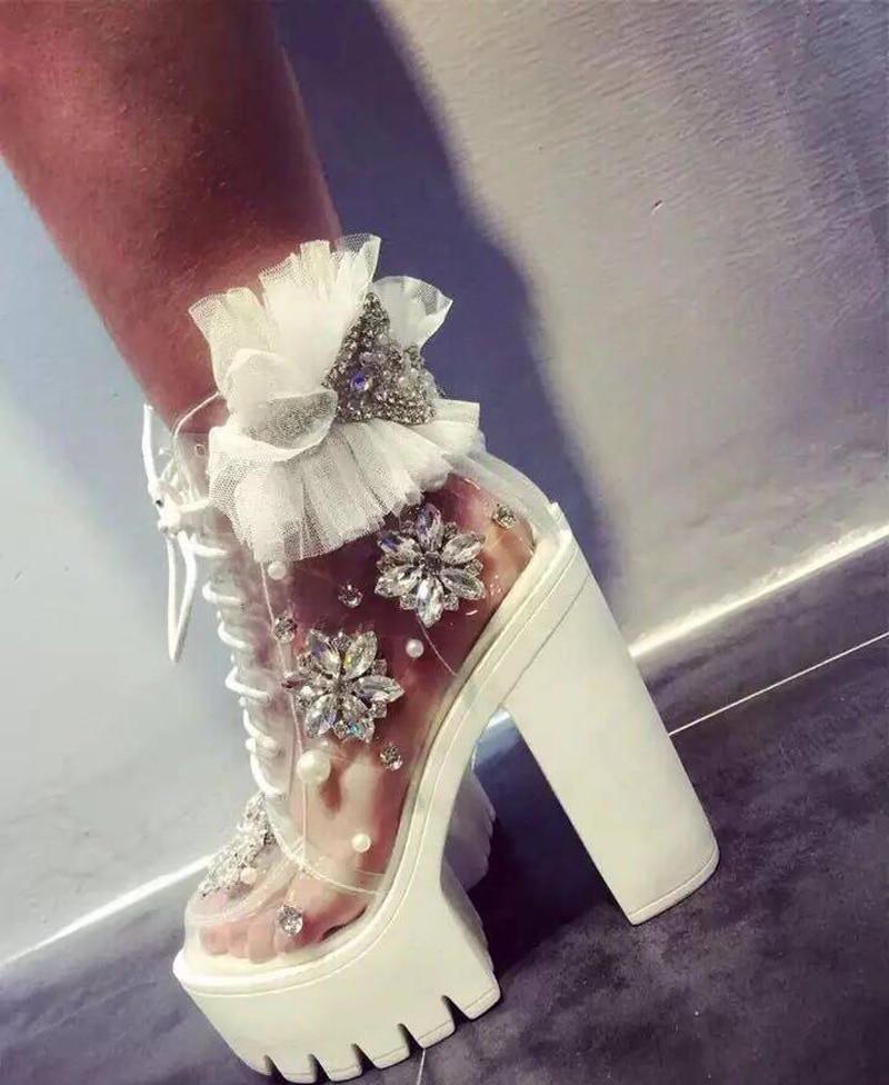 Mariage Pompes forme Embelli Bottines Strass Plate De Color 1 Cristal Talon En Haut Femme Dentelle Douce Chaussures Chunky Perles Pvc Fleur AagxWq4wB