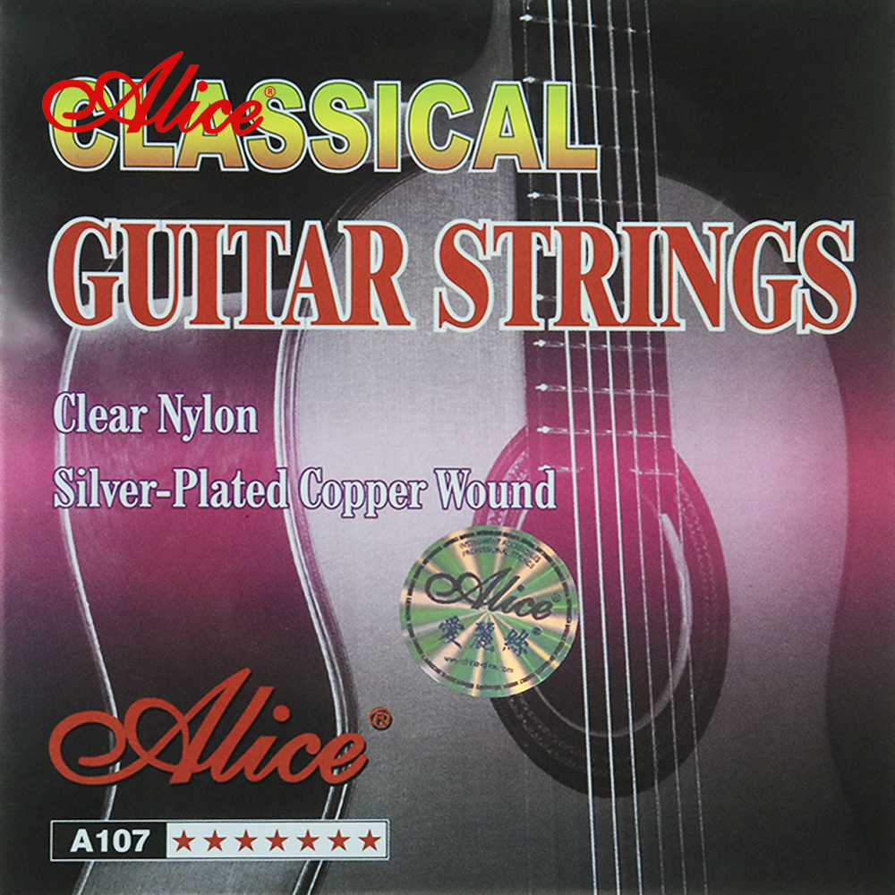 Alice 1 Set 1st-6th Classical Guitar Strings A107 Clear Nylon Core Silver Plated Copper Alloy Wound 20PCS/lot classical guitar strings set cgn10 classic nylon silver plated normal tension 028 045 classical guitar strings 6strings set