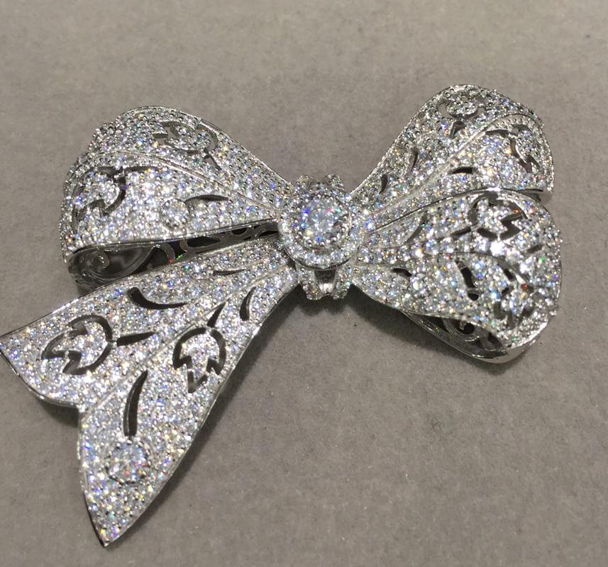 Connecteurs Bowknot pour la fabrication de bijoux de collier ou de bracelet en argent sterling 925 avec composant de résultats de bijoux en zircon cubique
