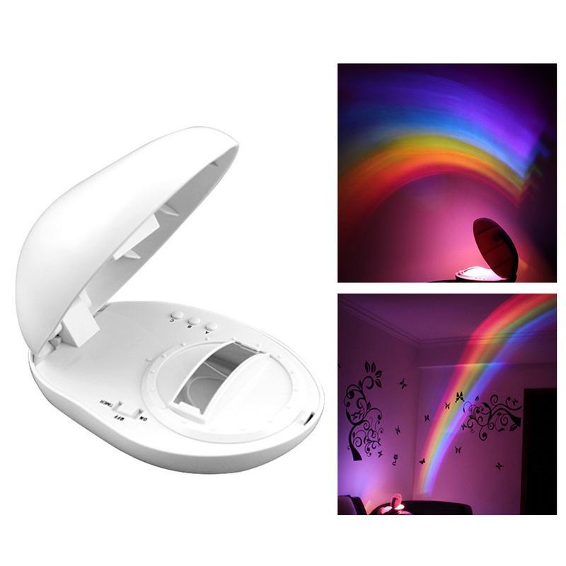 Colorful LED Rainbow Light Baby Kids Children Night Light Romantic Christmas Projector Lamp for Sleeping Bedroom Decoration