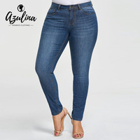 AZULINA Plus Size Five Pockets Pencil Jeans Slim Jeans For Women Skinny Mid Waist Jeans Denim