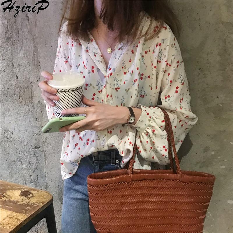 Hzirip Korean Women Blouses 2019 Spring Summer Sweet Fashion Casual Print Shirt Chiffon Soft Long Sleeve Women Tops Shirts