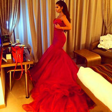 цены Sweetheart Beading Red Mermaid Evening Dresses Long Train Robe De Soiree 2015 New prom dresses vestidos de festa TK132
