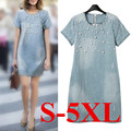 Hot Brand New 2016 Denim Dress Plus Size Summer Dress 5XL Women Dress High Quality Vintage Casual Dress For Ropa Mujer Vestidos