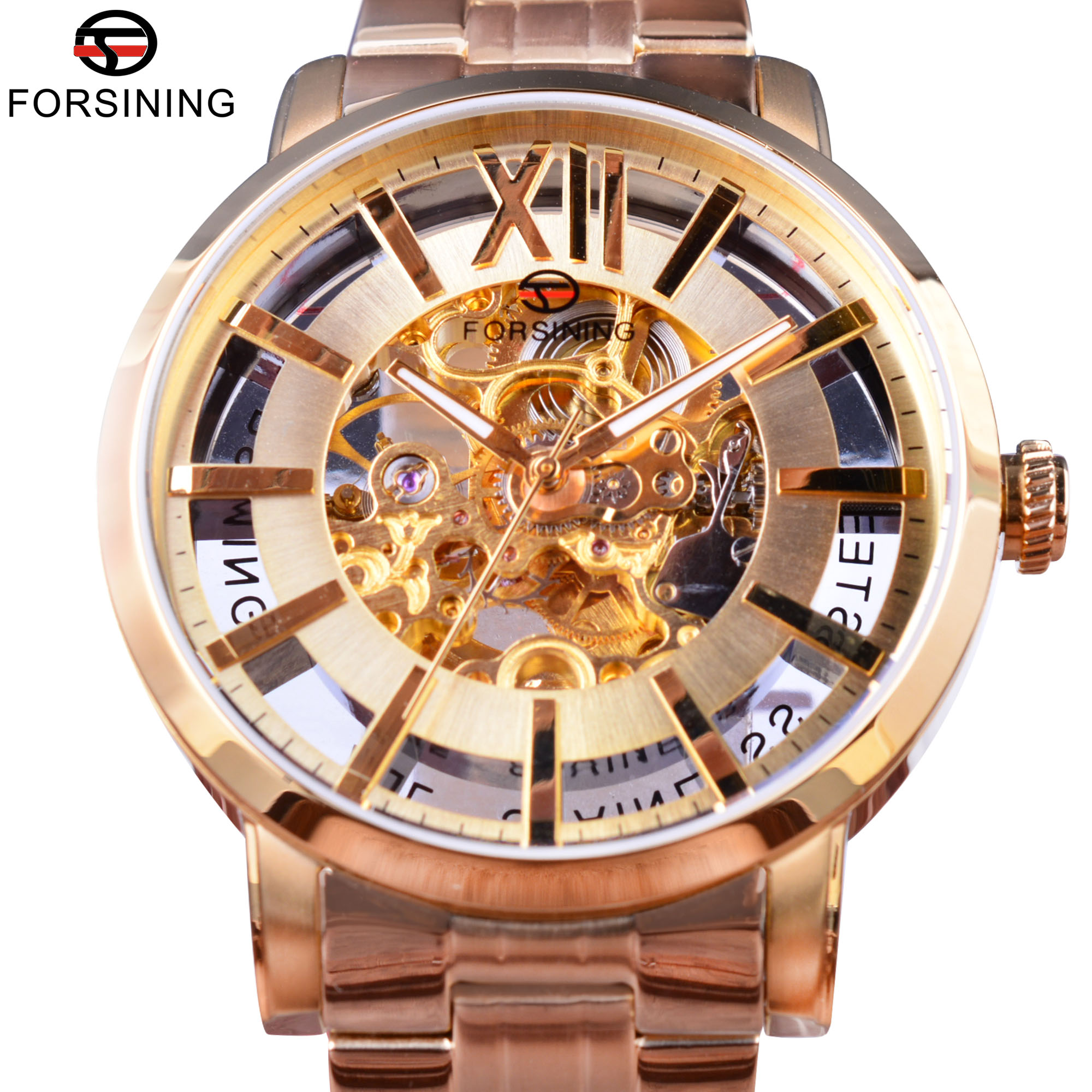 Forsining Transparent Golden Fashion Style 316 Steel Waterproof Sapphire Crystal Men Automatic Skeleton Watches Top Brand Luxury forsining 3d skeleton twisting design golden movement inside transparent case mens watches top brand luxury automatic watches