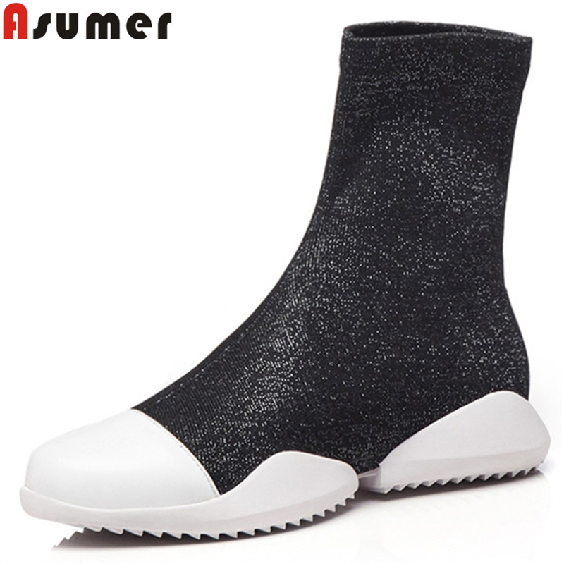 ASUMER black fashion ankle boots for women round toe autumn winter boots casual flat with stretch fabric+cow leather boots ASUMER black fashion ankle boots for women round toe autumn winter boots casual flat with stretch fabric+cow leather boots