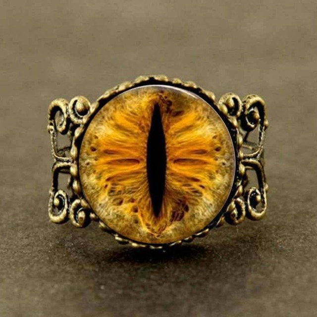 Steampunk New Gold Dragon Eye Ring Vintage Cat Eye Jewelry