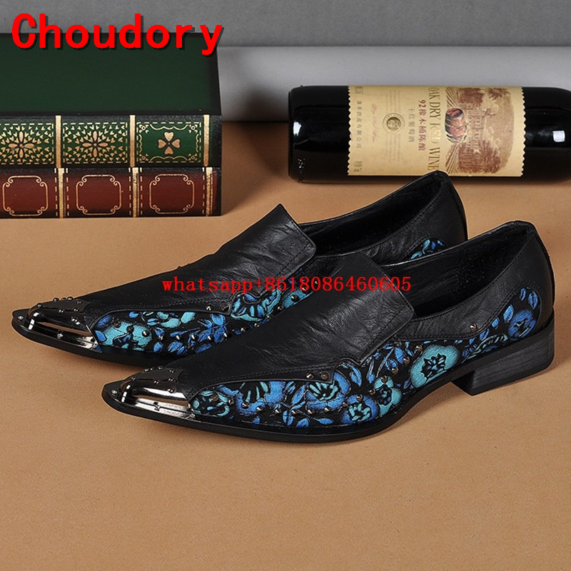 Choudory  Iron Toe Italian Shoes Men Leather Studded Loafers Wedding Dress Shoes Mens Formal Handmade Punk shoes Pluse Size 46 choudory new winter men ankle italian shoes men leather shoes pointed toe mens black dress shoes sequined toe spiked loafers men