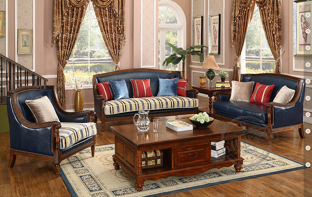 American Antique style living room sofa set in Italy genuine leather 805 - American Antique Style Living Room Sofa Set In Italy Genuine Leather