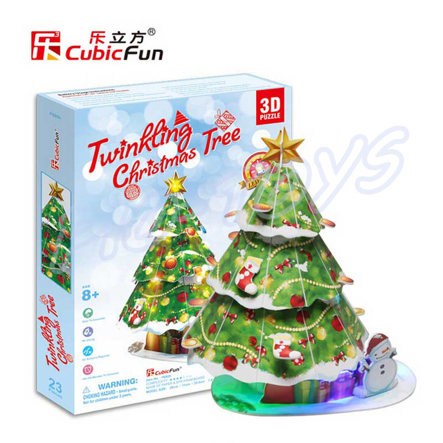Collection Gift Christmas Series 3D Puzzles Model House DIY Building With Christmas  Tree U0026 Santa Ride Assemble LED Puzzle Toys