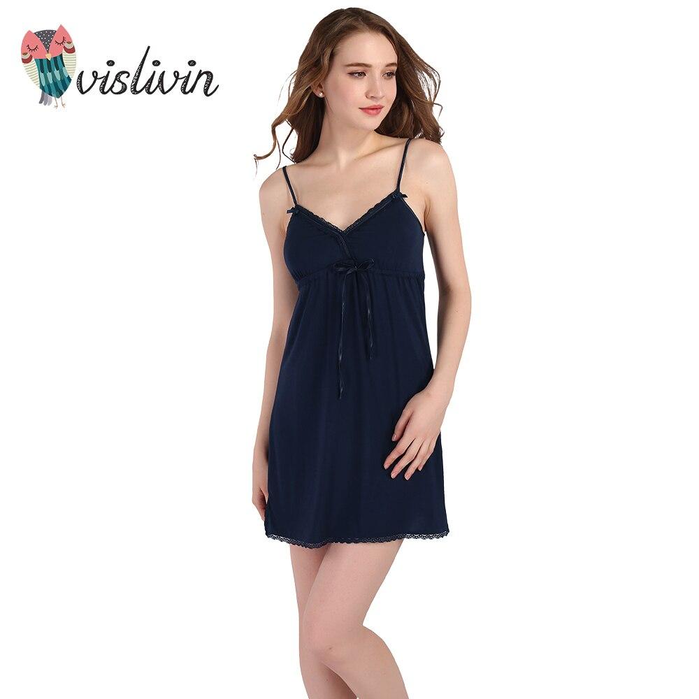 Vislivin 2017 Summer Nightgowns Women Sexy Deep V Sleep -8033